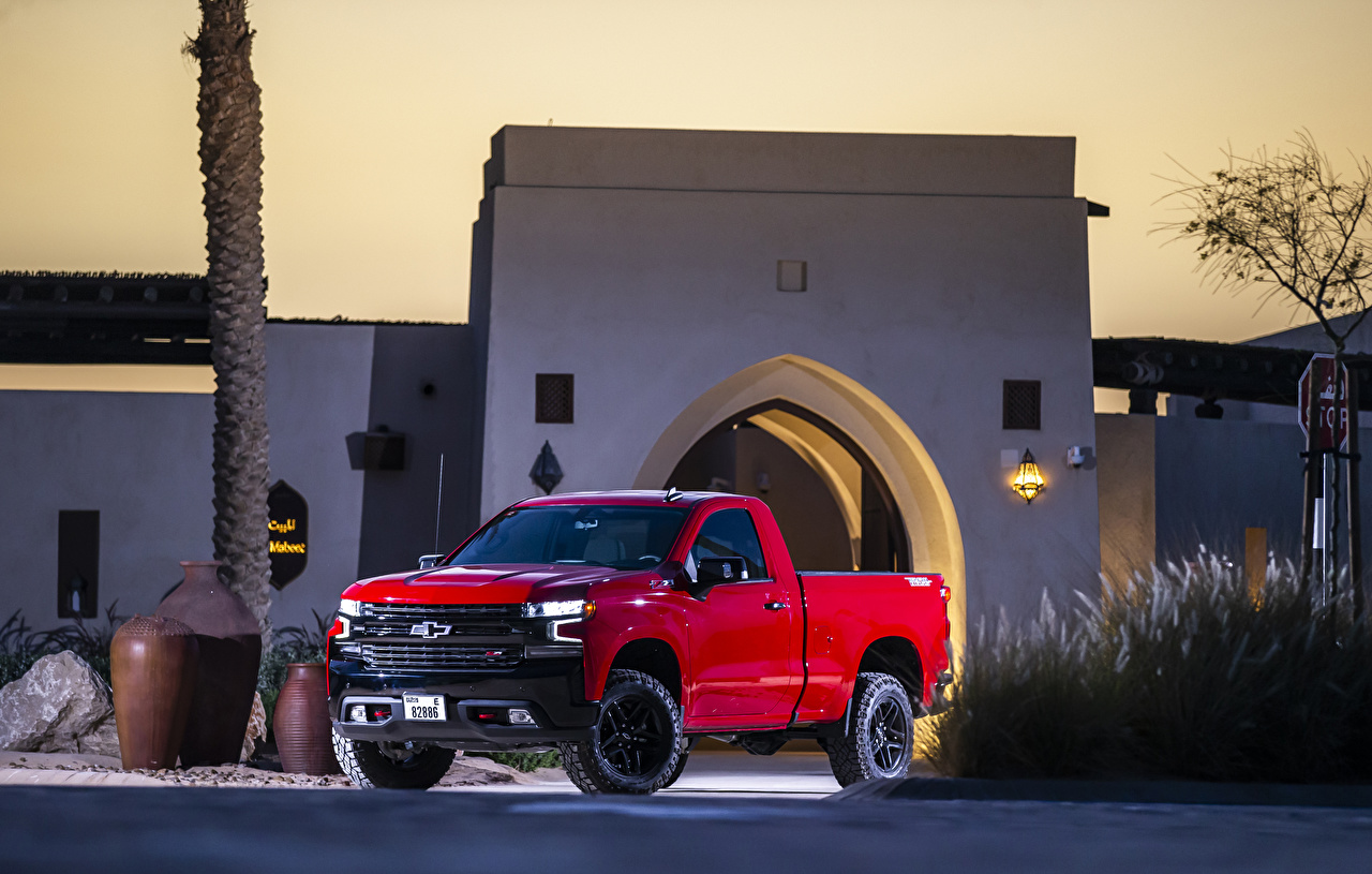 Bilder von Chevrolet 2019 Silverado LT Z71 TrailBoss Regular Cab Pick-up Rot auto Metallisch Autos automobil