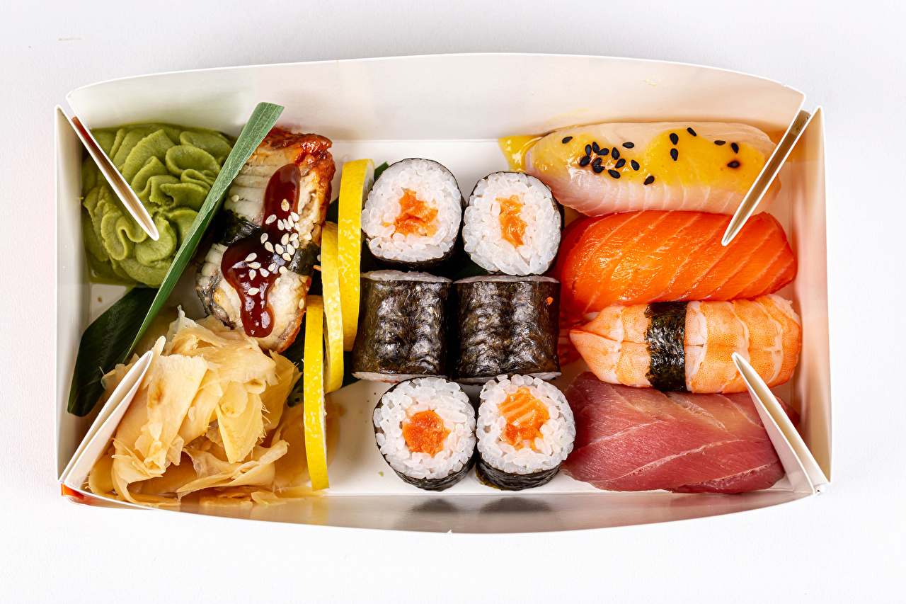 Photo Rice Box Sushi Fish - Food Food Seafoods White background