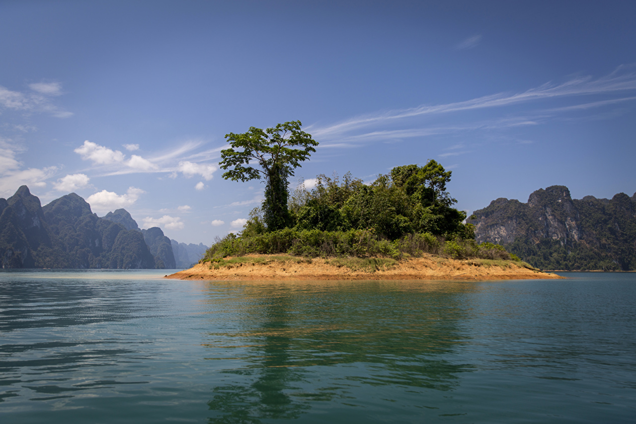 Photo Thailand Cheow Lan Lake Khao Sok National Park Nature Mountains Parks Island Trees mountain park