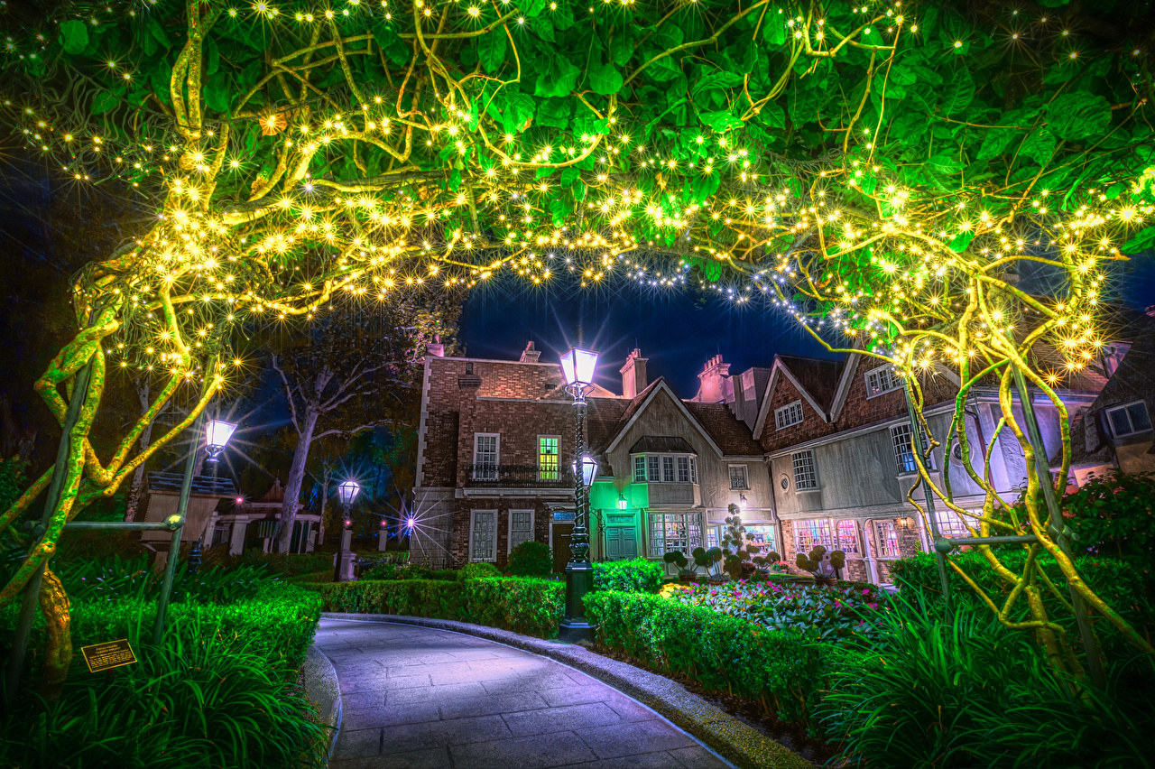 Desktop Wallpapers Anaheim California Disneyland USA HDR Parks night time Fairy lights Street lights Cities Shrubs Building HDRI park Night Bush Houses