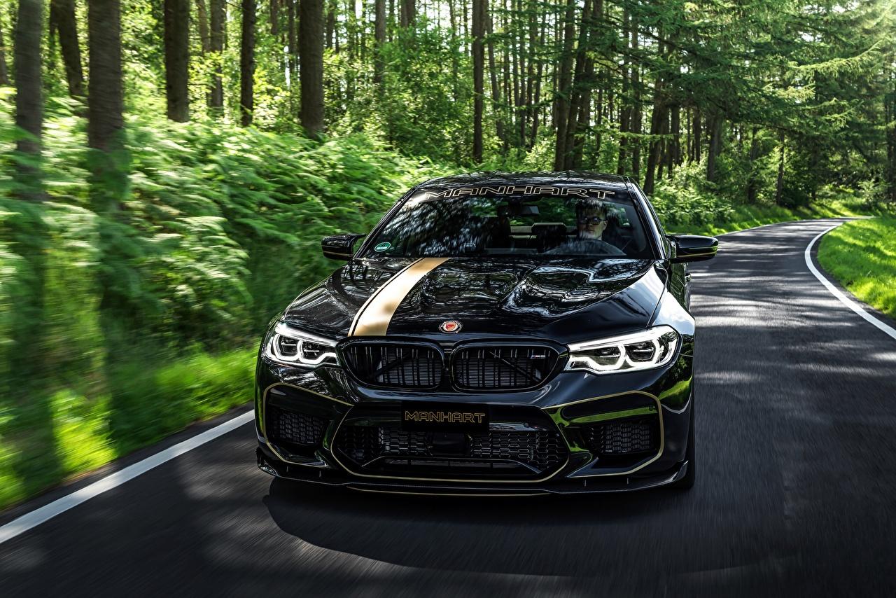 Foto's BMW 2018 Biturbo Manhart M5 V8 F90 MH5 700 Zwart kleur auto's Metallic Vooraanzicht Auto automobiel