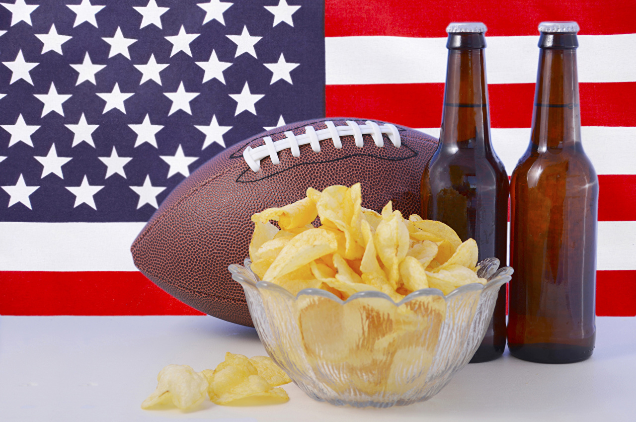 Picture USA Beer Chips Flag Ball Food Bottle