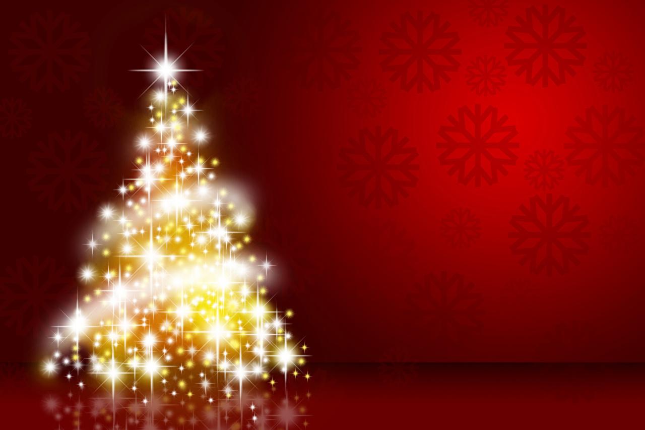 Fotos Neujahr Tannenbaum Lichterkette Roter Hintergrund Christbaum Weihnachtsbaum