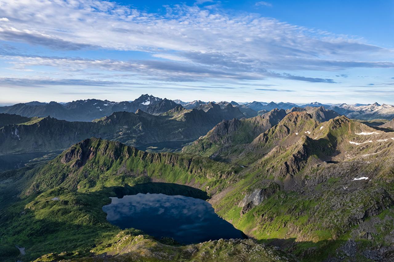 Bilder von Lofoten Norwegen Natur Gebirge See Berg