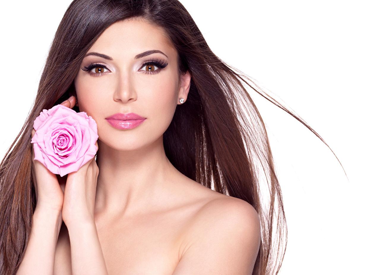 Fonds D Ecran Roses Fond Blanc Aux Cheveux Bruns Visage Main