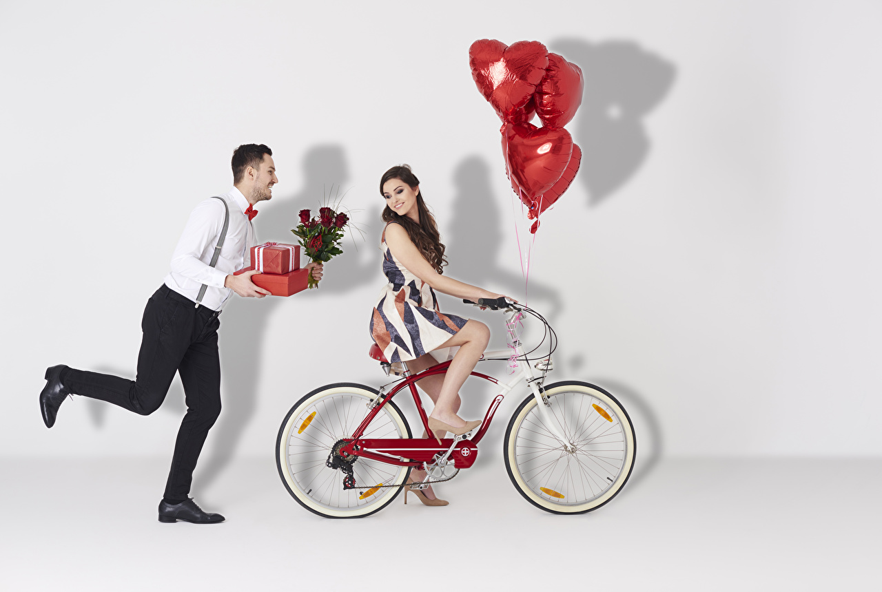 Wallpaper Valentine's Day Brown haired Men Heart Toy balloon Bicycle Two Girls Roses present Man bike 2 Gifts