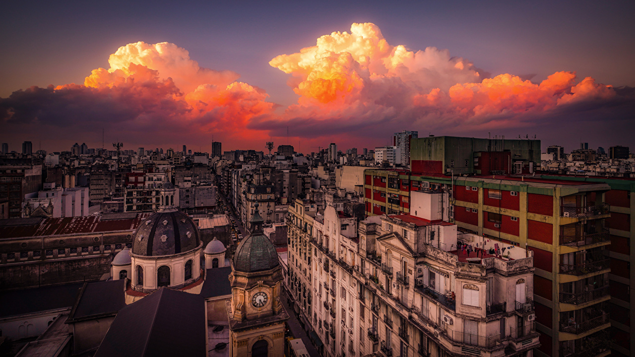 Images Argentina Buenos Aires, Balvanera Evening Houses Clouds Cities Building