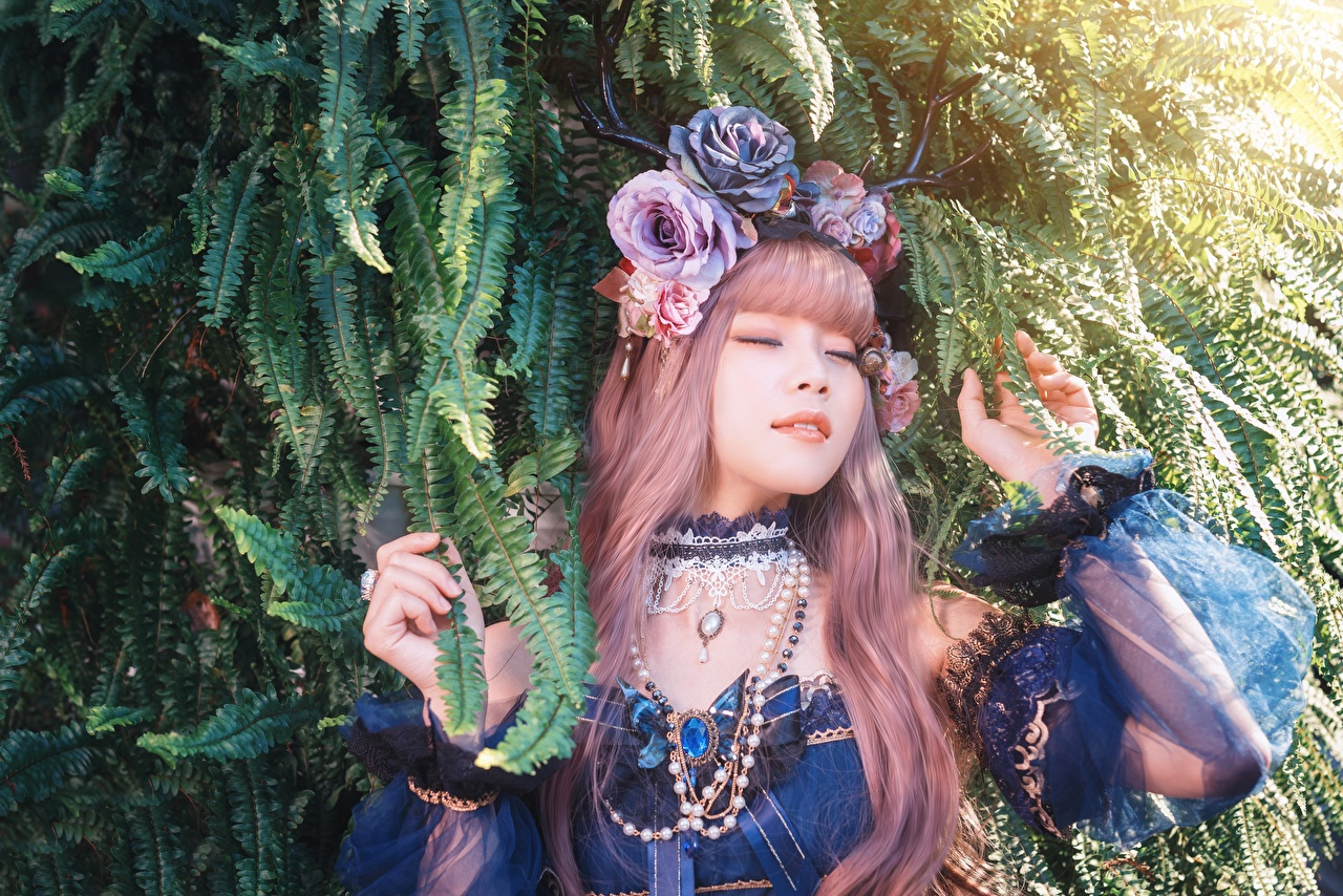 Image Redhead girl Necklace young woman Asiatic Hands Branches Jewelry Girls female necklaces Asian
