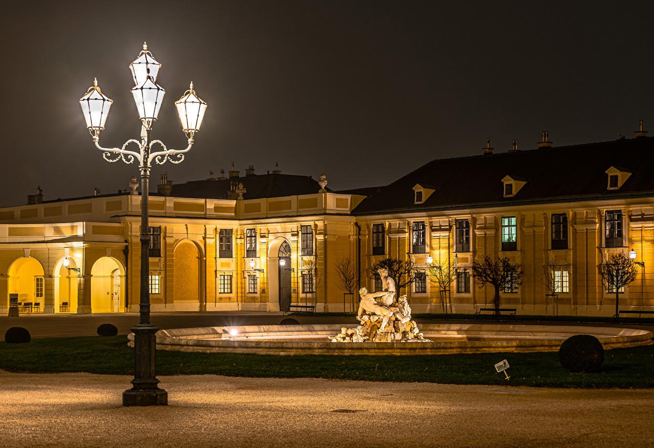 Desktop Wallpapers Vienna Palace Austria Night Street lights Cities Sculptures night time