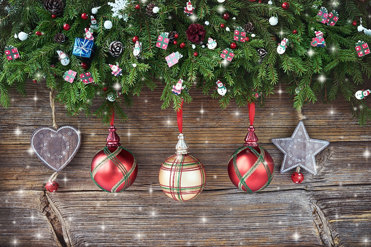 Pictures New year Star decoration Heart Balls Branches Christmas little stars