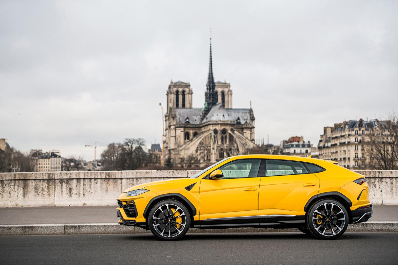 Pictures Lamborghini Crossover Urus SSUV Yellow Side Metallic automobile CUV Cars auto
