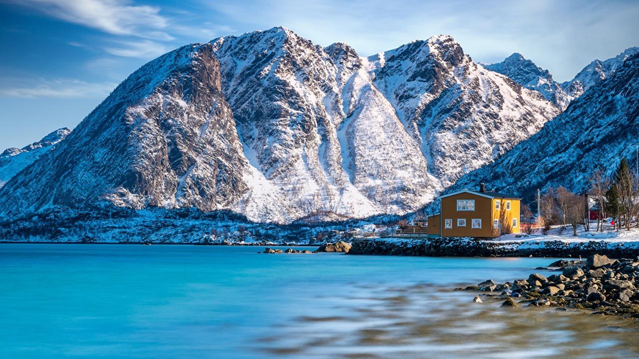 Images Lofoten Norway Nature Mountains Snow Coast Stones mountain stone