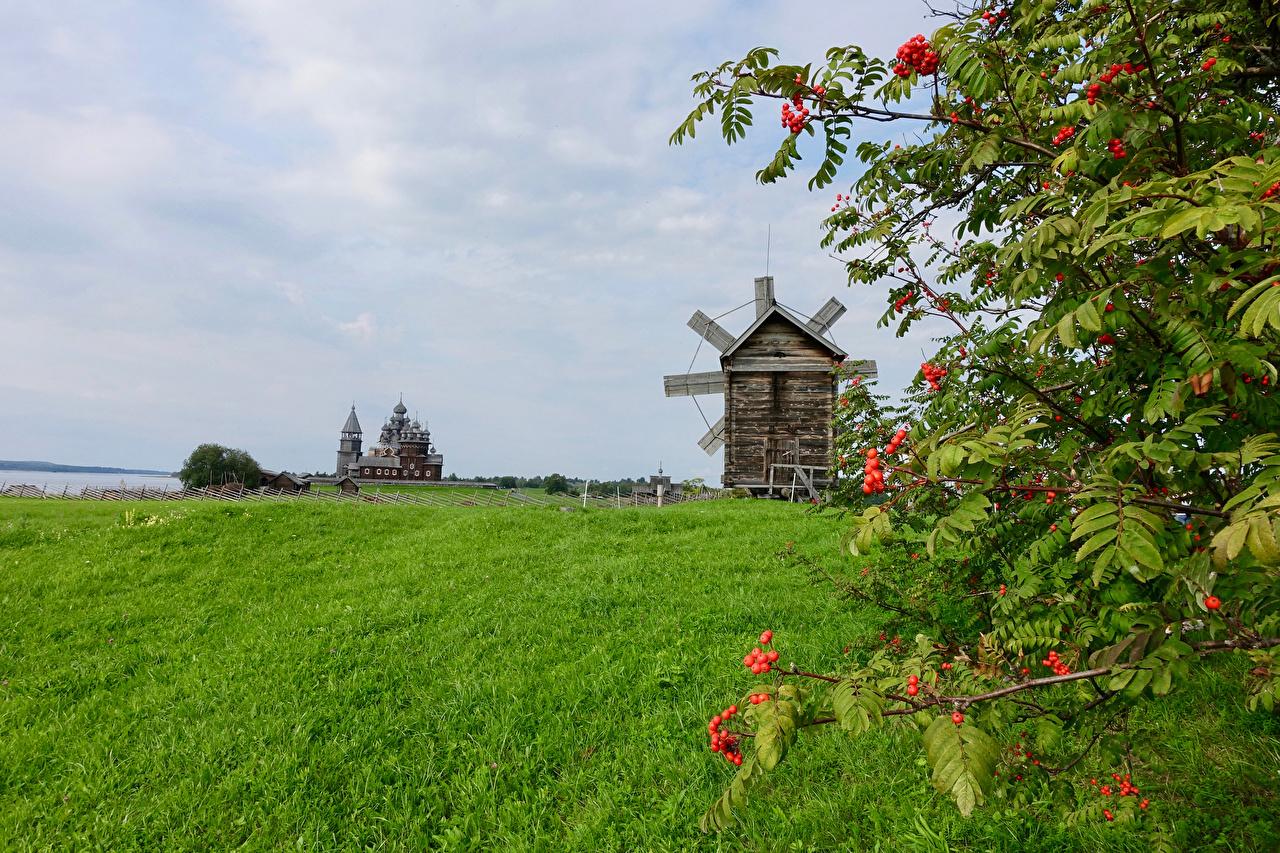 Desktop Hintergrundbilder Russland windmühle Kizhi Natur Felder Ast Tempel Mühle Acker