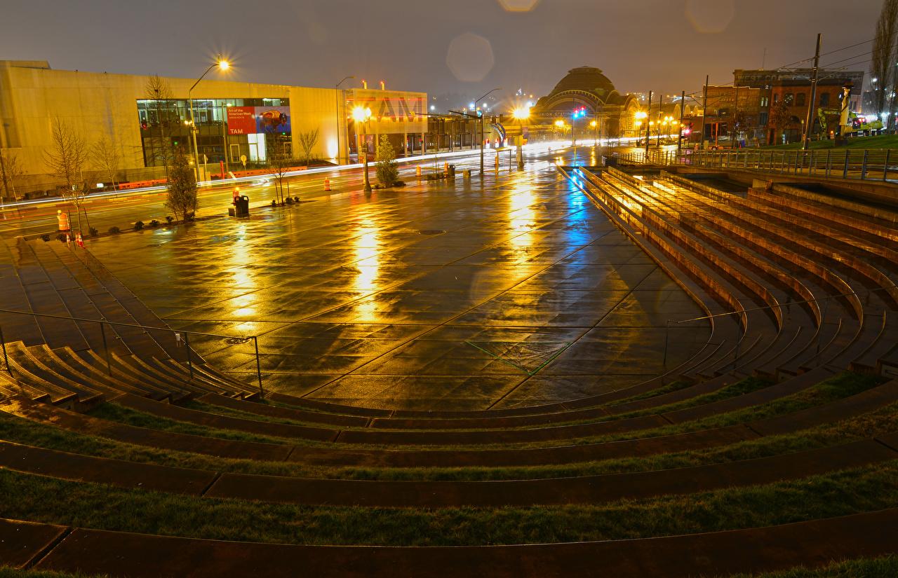 壁紙 アメリカ合衆国 住宅 Tollefson Plaza Tacoma ワシントン 広場 階段 夜 街灯 都市 ダウンロード 写真