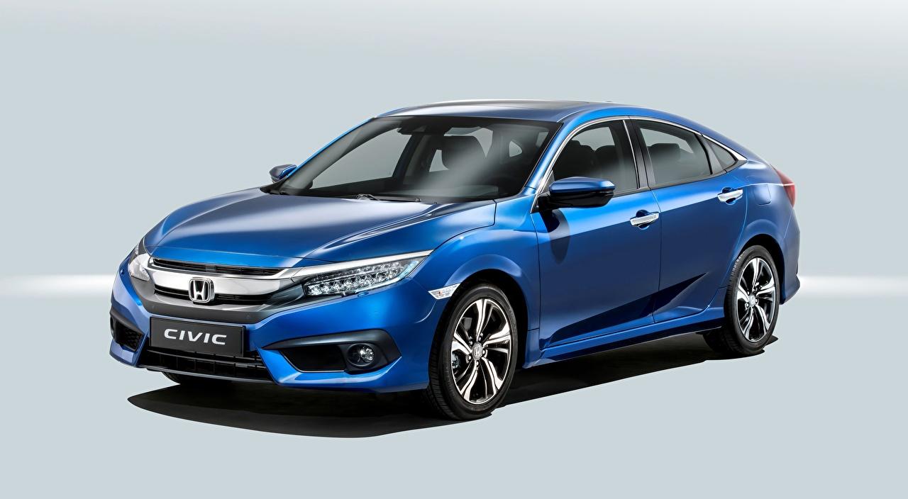 Desktop Wallpapers Honda Civic Sedan, 2016 Sedan Blue Cars Gray background auto automobile