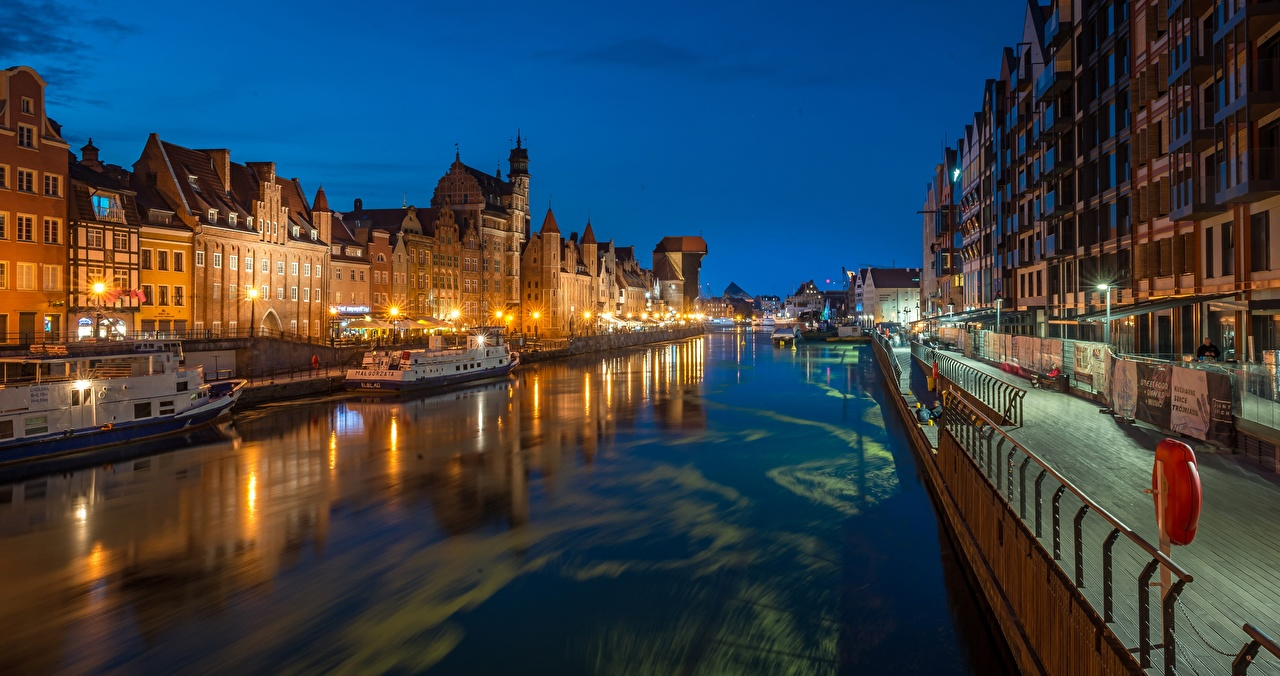 Photos Cities Gdańsk Poland Street lights Riverboat Night Panorama Canal panoramic night time