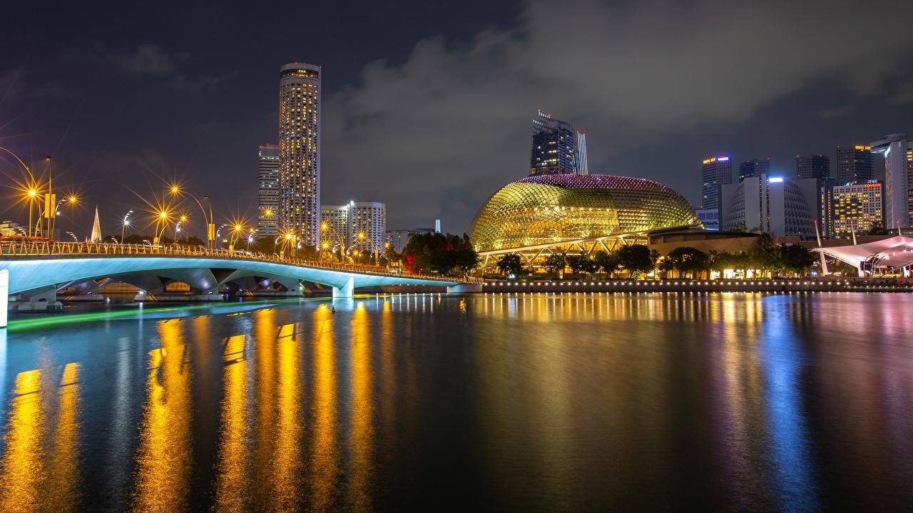 Picture Singapore Merlion Park Bridges Parks river night time Street lights Houses Cities bridge park Night Rivers Building
