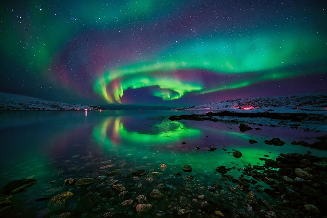 、水、石、海岸、ノルウェー、Fjord、オーロラ、夜、湾、自然、