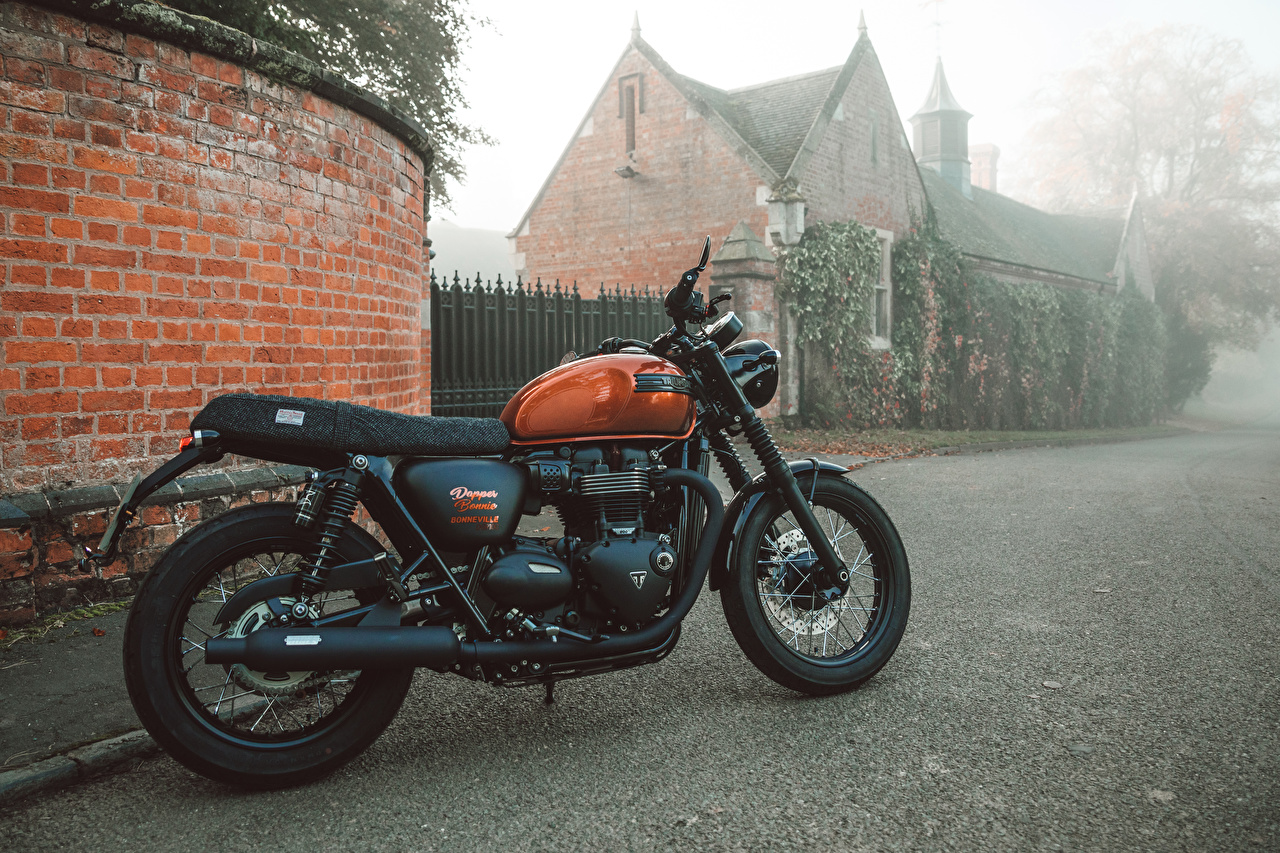 Desktop Hintergrundbilder Triumph 2017 Bonneville Dapper Bonnie DGR100 Motorräder Seitlich Triumph Motorcycles Ltd. Motorrad