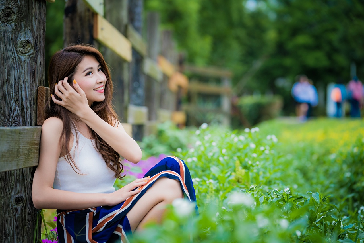 Images Brown haired Smile blurred background Girls Asiatic Grass Hands Sitting Bokeh female young woman Asian sit