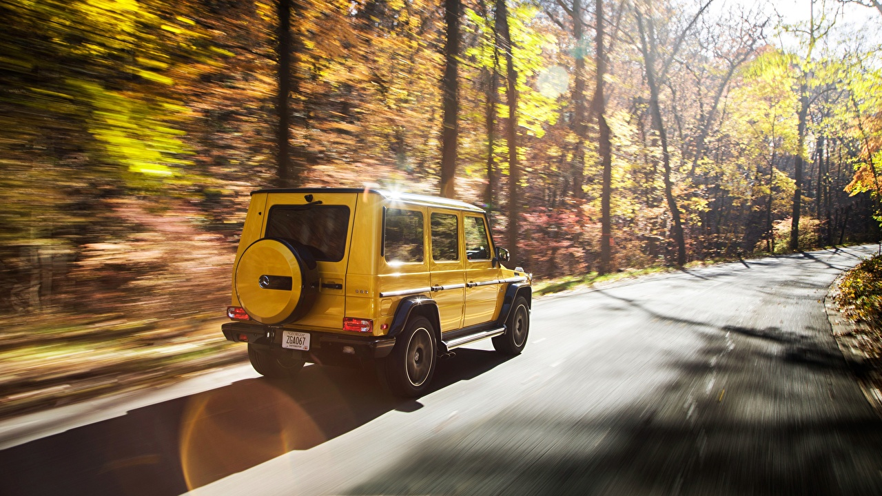 Wallpaper Mercedes-Benz G-Class AMG Colour Edition G 63 Yellow Motion Cars G-Wagen moving riding driving at speed auto automobile
