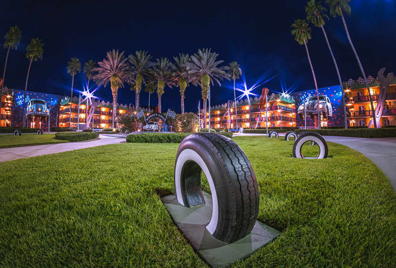 Pictures Anaheim California Disneyland USA Tire HDRI park palm trees Night Houses Cities Design HDR Parks Palms night time Building
