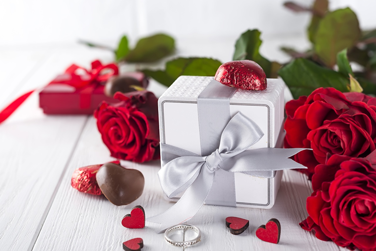 Desktop Wallpapers Valentine's Day rose Candy flower present Bowknot Roses Gifts Flowers bow knot