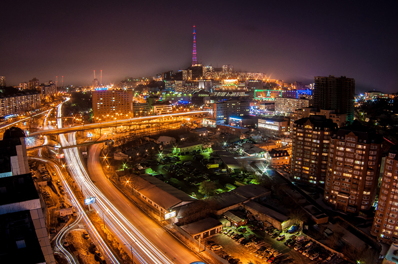 Pictures Russia Vladivostok Roads Night From Above Street Lights