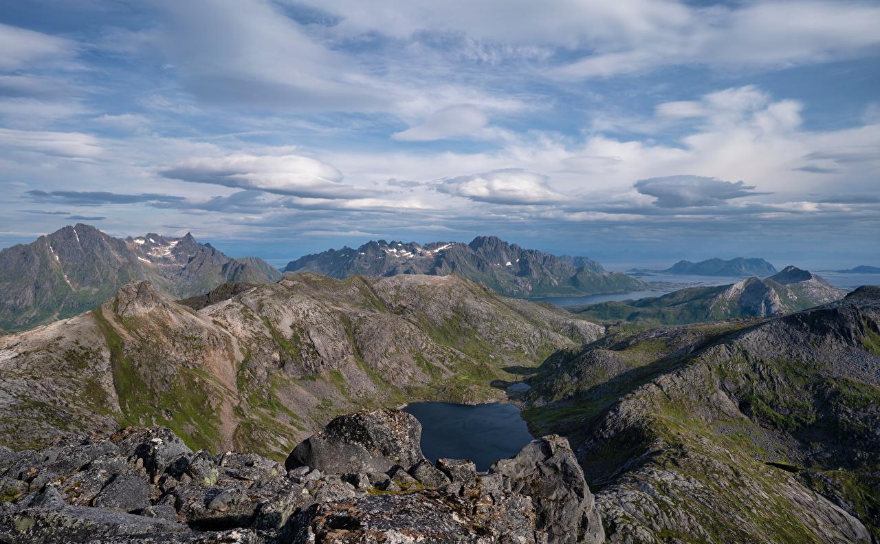 Foto Lofoten Norwegen Laukvik Fjord Natur Gebirge Wolke Berg