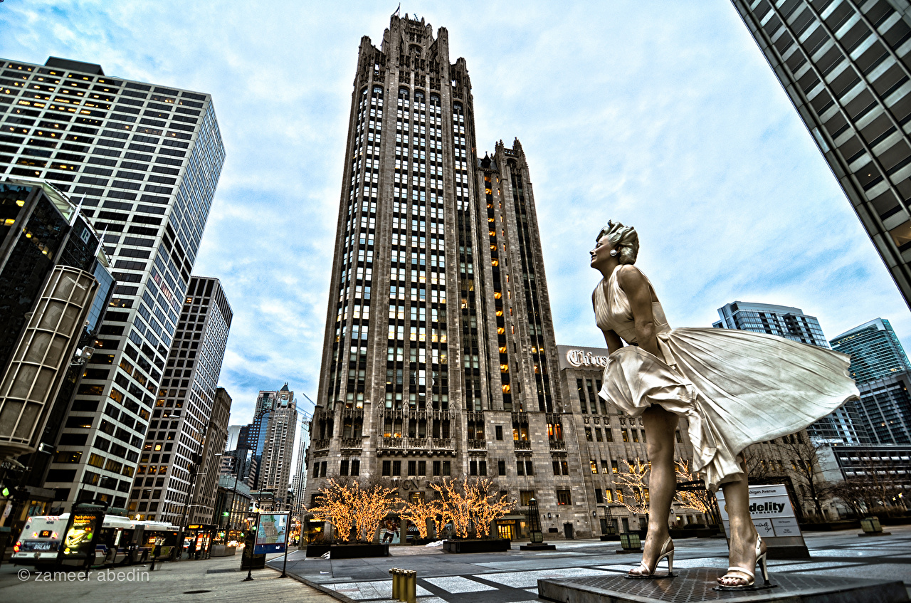 Image Marilyn Monroe Chicago city USA Monuments young woman Street Skyscrapers Cities Building Celebrities Girls female Houses