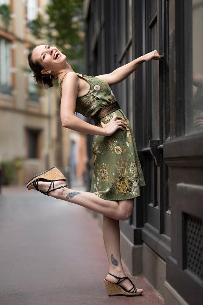 Bilder Skratt Bea Pose Unga kvinnor Ben Klänning  till Mobilen skrattar poserar ung kvinna