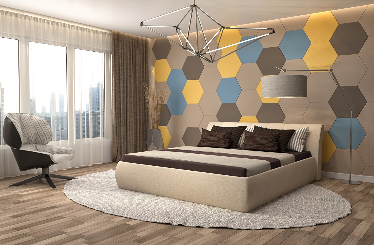 Photo Bedroom 3D Graphics Interior Bed Lamp walls Window Wing chair Design Wall Armchair
