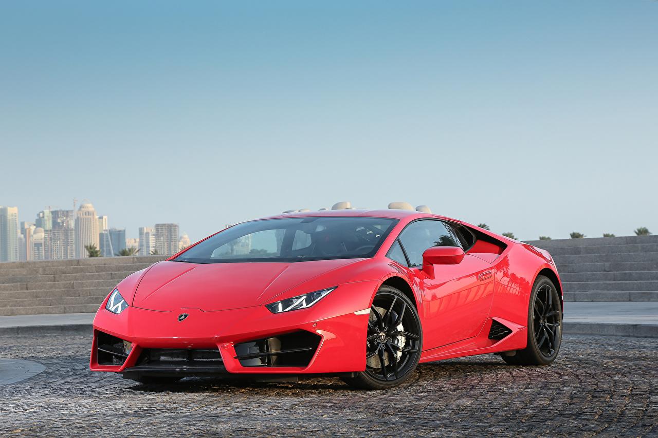 Image Lamborghini Huracan LP 580-2 Red automobile Cars auto