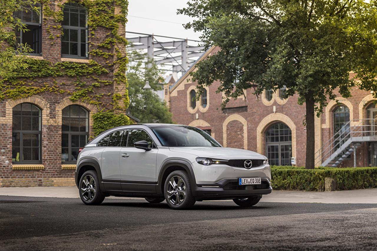 Desktop Wallpapers Mazda 2020 MX-30 Worldwide White Cars Metallic auto automobile