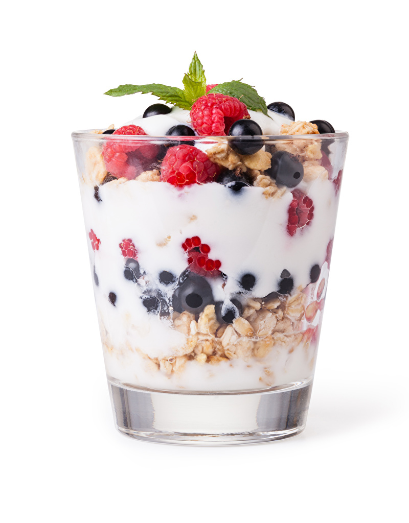 Photo Yogurt Dessert Raspberry Highball glass Food Berry Muesli White background  for Mobile phone