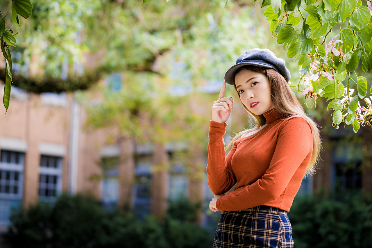 Desktop Wallpapers posing young woman Asian Sweater Branches Glance Baseball cap Pose Girls female Asiatic Staring