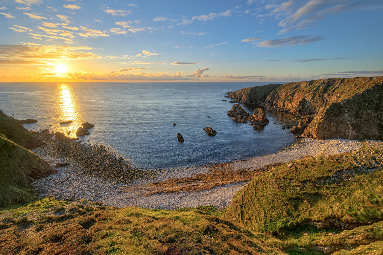 Desktop Wallpapers Ireland Donegal Sun Crag Ocean Nature sunrise and sunset Coast Horizon Rock Cliff Sunrises and sunsets