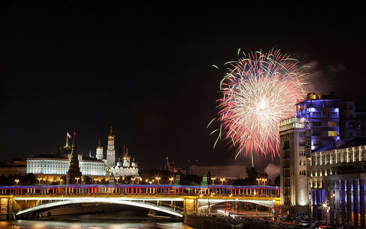 Image Russia Fireworks Moscow Kremlin river Moscow bridge Night Rivers Cities Holidays Bridges night time