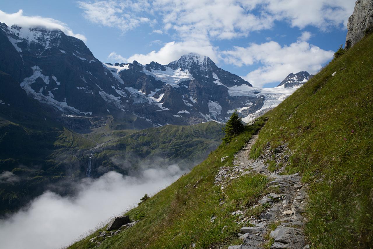 Bilder Schweiz Alperna Lauterbrunnental Berg Natur Gångstig Molnen