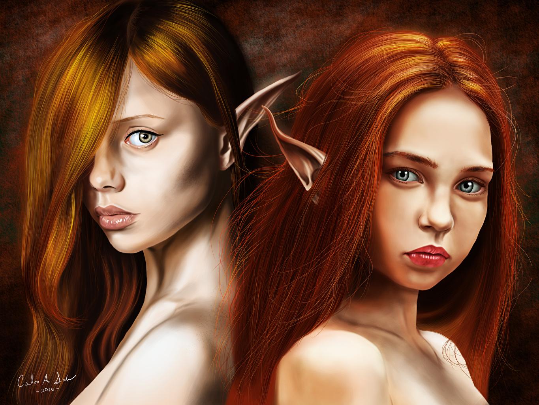 Desktop Wallpapers Elves Redhead girl Katya, Renata Two Hair Girls Fantasy Staring Elf 2 female young woman Glance