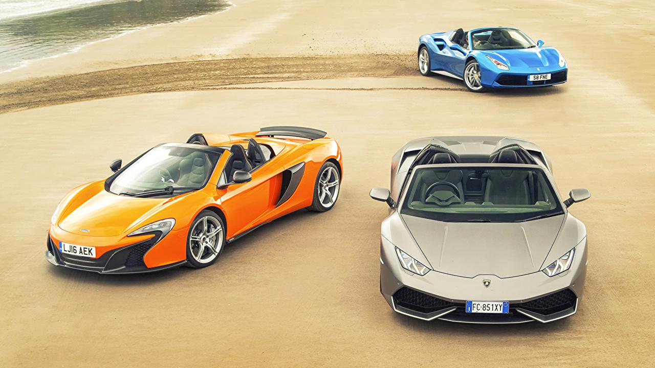Photos Ferrari McLaren Lamborghini 488, Lambo Huracan, 650S Cabriolet auto Three 3 Convertible Cars automobile