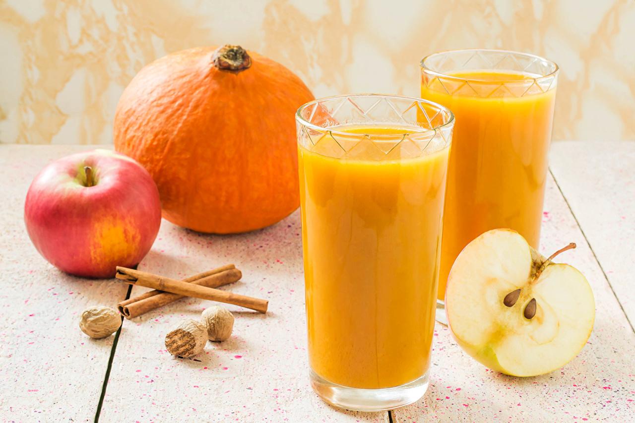 Wallpaper 2 Juice Pumpkin Apples Cinnamon Highball glass Food Two
