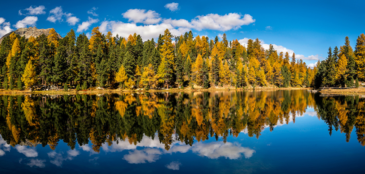 Wallpaper Nature Switzerland Lai Nair Autumn reflected Lake Clouds Forests Trees Panorama Reflection forest panoramic
