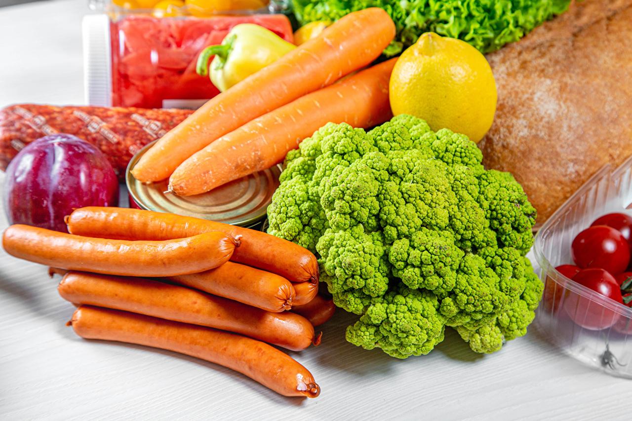 Photo Carrots Lemons Broccoli Vienna sausage Food Vegetables