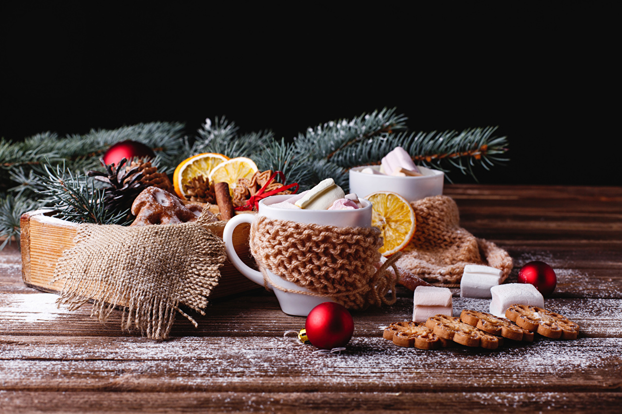 Desktop Wallpapers New year Marshmallow Cup Food Balls Cookies boards Christmas Wood planks