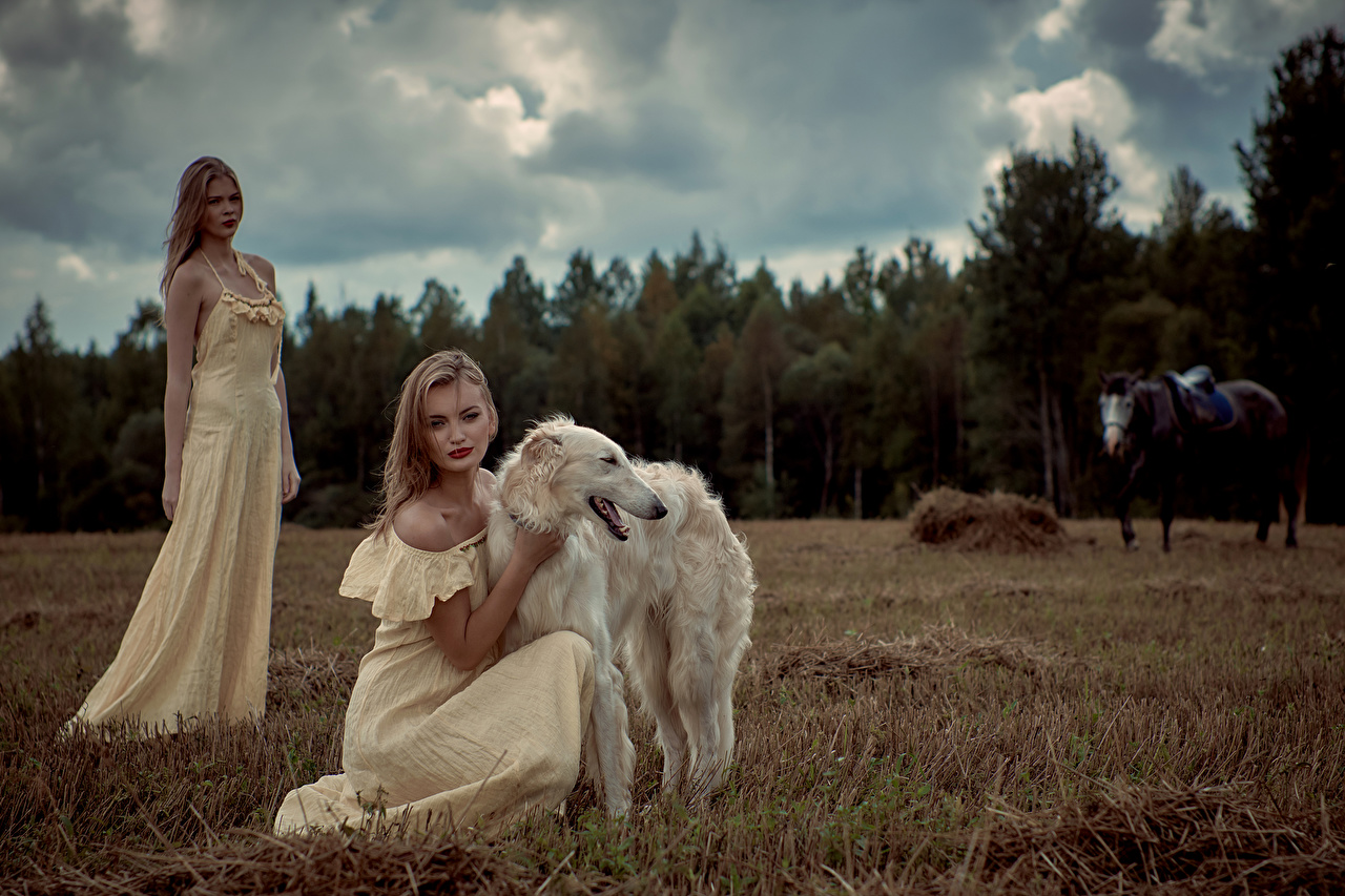 Picture Sighthound dog Russian hunting sighthound 2 young woman Animals frock Dogs Two Girls female animal gown Dress