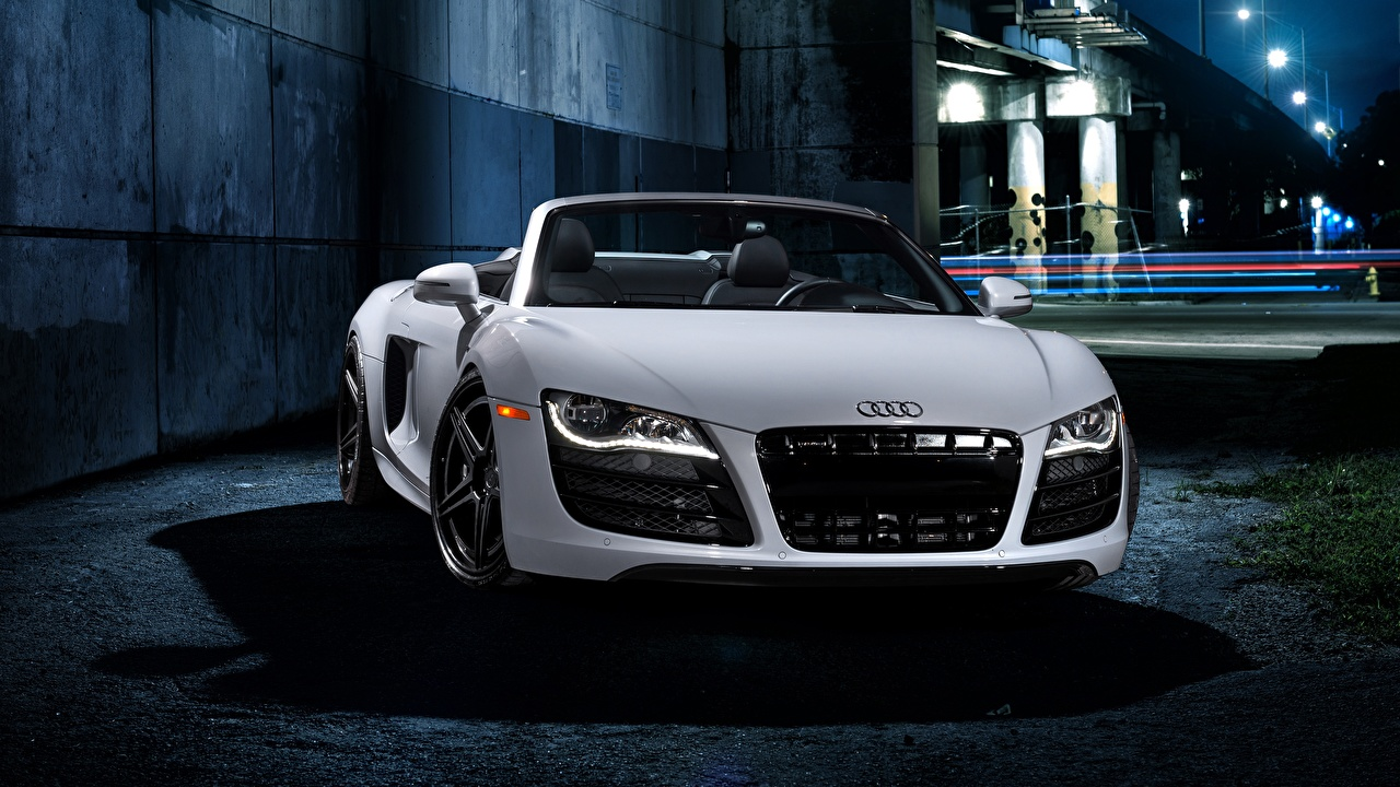 Image Audi R8 Roadster White auto Front Metallic Headlights Cars automobile