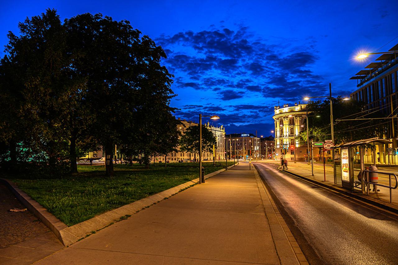Images Vienna Austria Roads Street night time Street lights Cities Building Night Houses