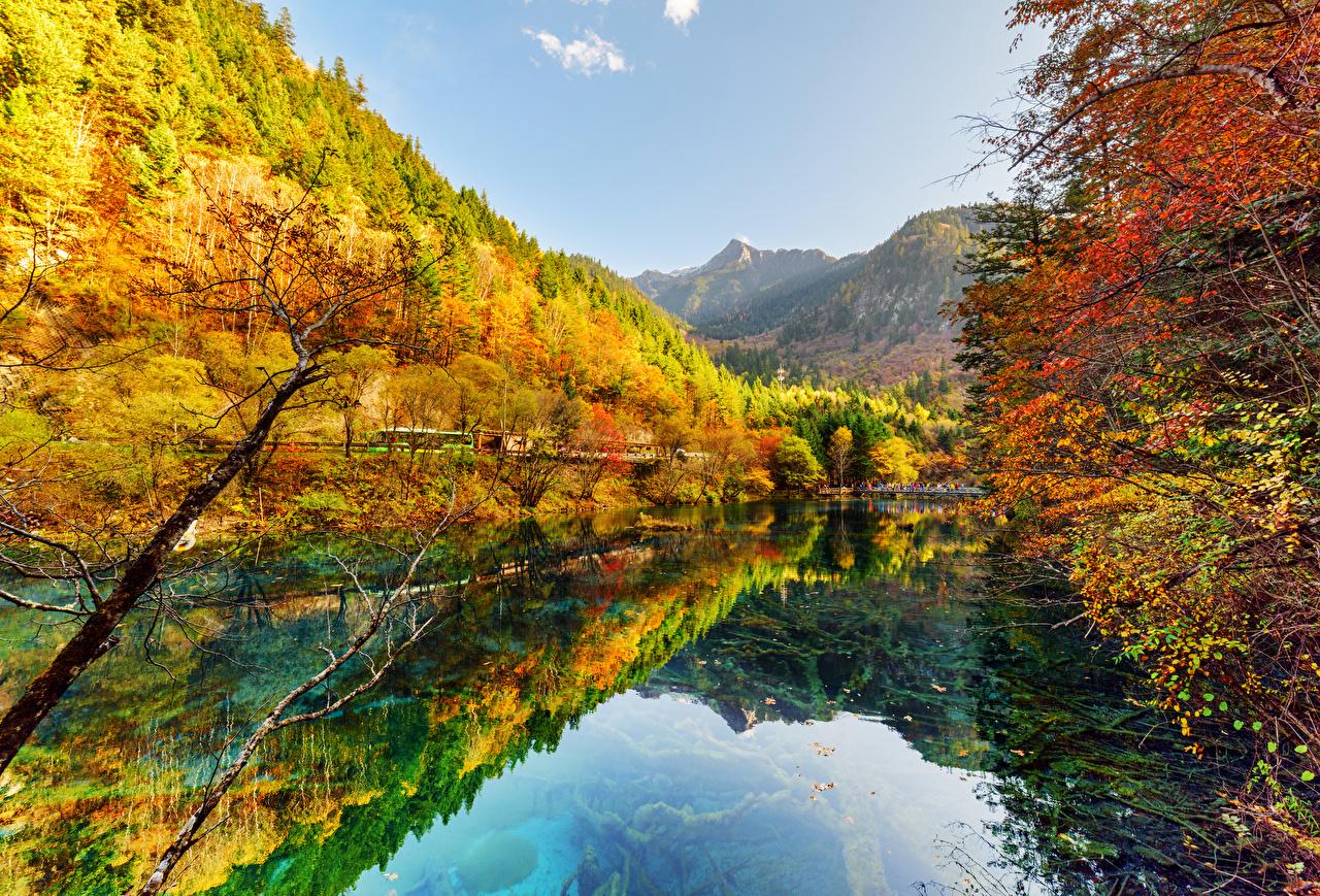 Bilder von Jiuzhaigou park China Natur Herbst See Park Wälder