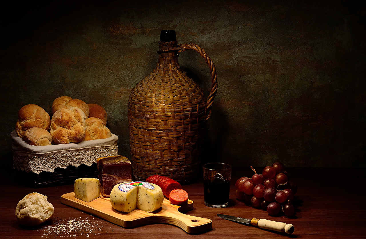 Image Knife Wine Sausage Grapes Cheese Highball glass Food bottles Cutting board Pastry Still-life Bottle baking